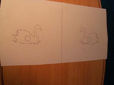 Carving the swan for Swan mask template